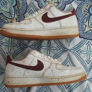 Nike Air Force One Low White Red Mens 8.5